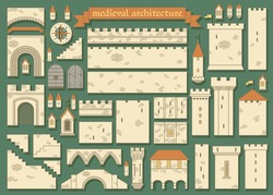 Vector illustration: details of the middle ages european royal castle - design your own castle for your pattern or web-site isolated on dark green background