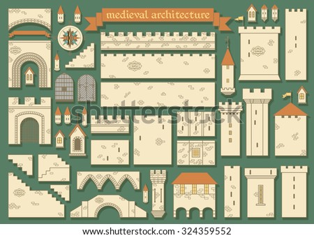 Stock Photo Vector illustration: details of the middle ages european royal castle - design your own castle for your pattern or web-site isolated on dark green background