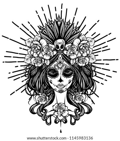 Vector illustration. Dia de los muertos, magic,day of dead faces, girl, mysticism, tattoos. Handmade, prints on T-shirts, background white