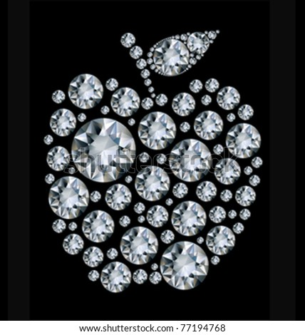 Vector illustration Diamond apple on black background