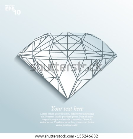 Vector illustration - diamond made of paper - stock vector