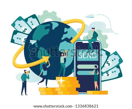 Vector illustration, digital currency exchange, finance, digital money market, cryptocoin wallet, stock exchange, online money transfer