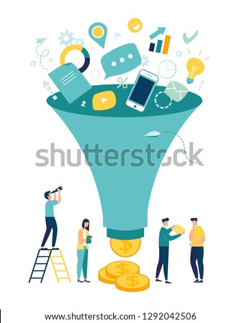 Vector illustration, digital marketing funnel leads generation with customers, marketing, sales generation and optimization