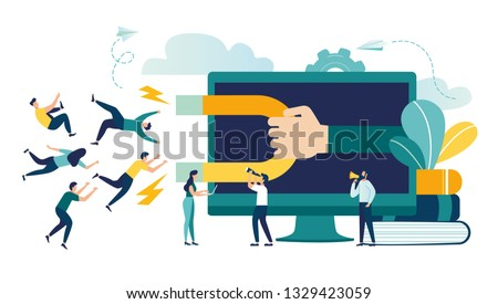 Vector illustration, digital marketing, generating potential customers, attracting and attracting customers with a magnet