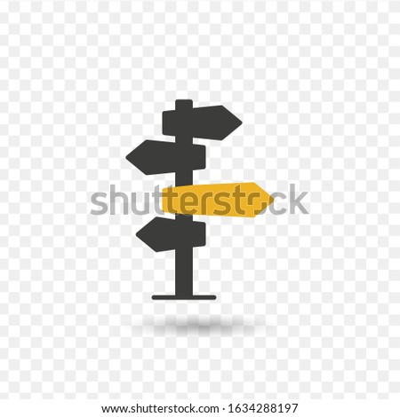 Vector illustration, direction sign in different, destination, choice of directions, travel to different places.