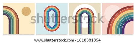 Vector illustration. Dirty grunge texture. Abstract background set. Contemporary backgrounds. Colorful rainbow. Design elements for social media, blog post, web banner. 60s, 70s retro graphic Zdjęcia stock ©