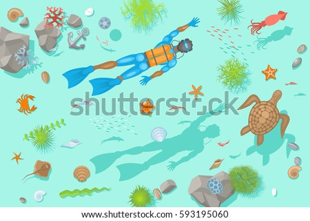 Stock Photo Vector illustration. Diving at the bottom of the sea. (Top view)  Diver, rocks, fish, turtle, crab, stars, shells. (View from above)