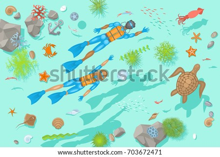 Stock Photo Vector illustration. Diving at the bottom of the sea. (Top view) Divers, rocks, fish, turtle, crab, stars, shells. (View from above)