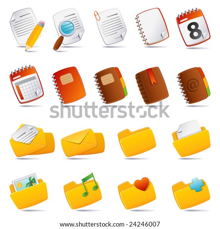 Vector illustration - documents, mail and and folder icon set - stock vector