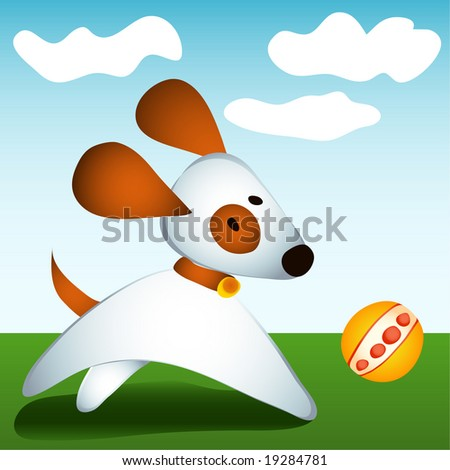 Vector illustration dog plays with ball