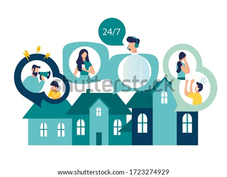 Vector illustration, domestic violence, support service, emergency call