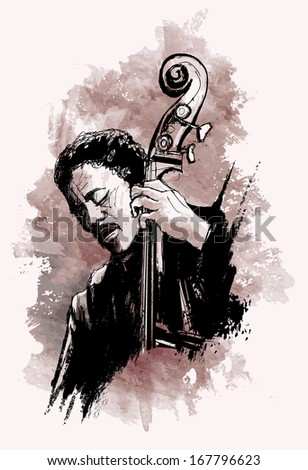 Vector illustration double-bass player over grunge background