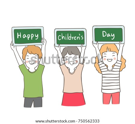 Happy children holding green boards - Download Free Vector Art