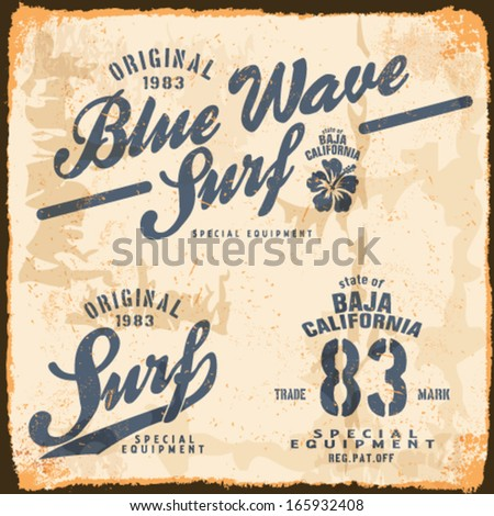 vector illustration drawing.california surf beach summer tropical heat print wave surf riders legendary vector t-shirts print