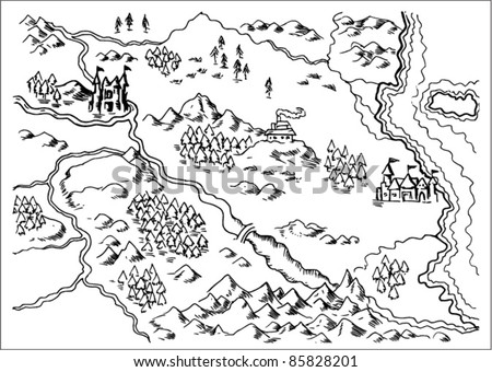 vector illustration drawing of a map of a fantasy land showing rivers, mountain range,trees,forest,monastery,castles,road,sea,coast,land on white background