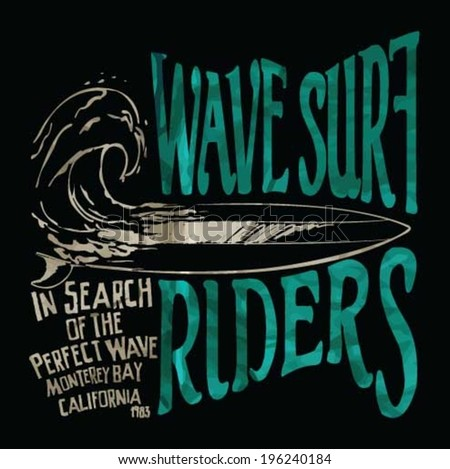 vector illustration drawing pacific surf beach summer heat print.wave surf print vector set