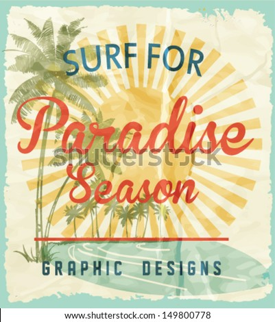 vector illustration drawing.pacific surf beach.Tropical island summer tropical heat print summer print t-shirt summer print