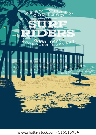 vector illustration drawing. pacific surf wave. summer tropical heat print.