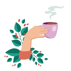 Vector illustration drinking coffee. Tea coffee break, mug, hands top view in a cafe. Female. Friendly support in difficult times, conversation women coffee houses