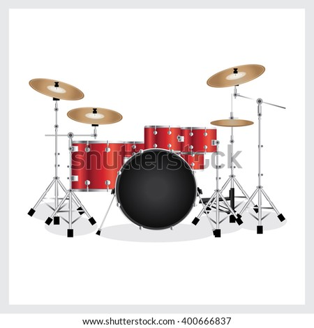 vector illustration drum set red