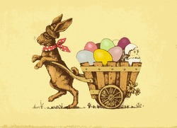 Vector illustration: Easter rabbit pulling a card with eggs.