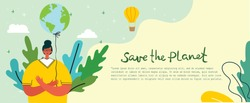 Vector illustration ECO background of Concept of green eco energy and quote Save the planet.