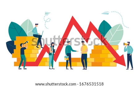 Vector illustration, economic downturn, profit and loss, business and finance, crisis Stock foto ©