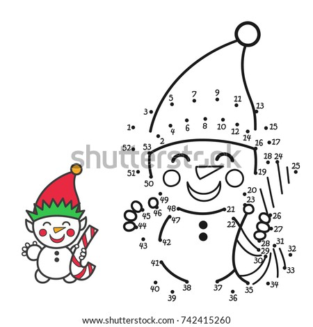 """Vector illustration: education game for kids """"connect the numbers and color the Snowman"""" isolated on white background. For your Christmas holiday pastime."""