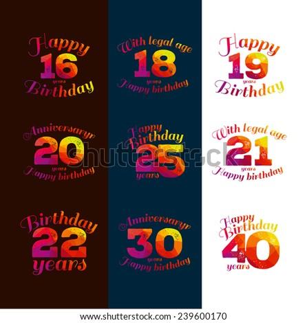 vector illustration eighteenth birthday 16th, 18, 20, 21, 22, 25, 19, 30, 40, greetings colorful geometric pattern