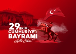 vector illustration 29 ekim Cumhuriyet Bayrami kutlu olsun, Republic Day Turkey. Translation: 29 october Republic Day Turkey and the National Day in Turkey happy holiday. graphic for design elements