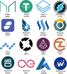 Vector Illustration Electroneum, DigixDAO, Aeternity, Komodo, Ardor, Waltonchain, Zclassix, 0x, Stratis, Status, Nano, Augur, Steem, Tether, BitShares, Maker Cryptocurrency Coin/Virtual Money Icon Set