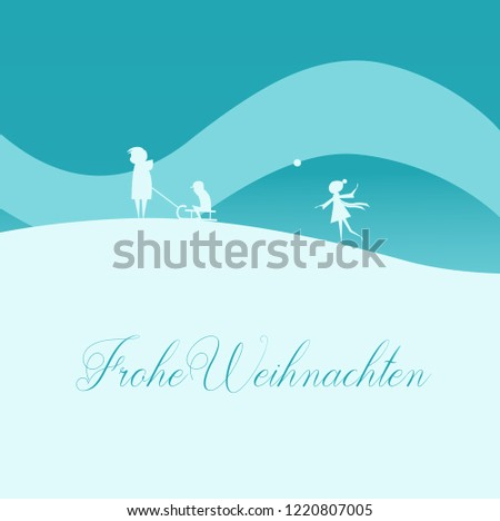 Vector Illustration: Elegant Christmas Greeting Card, Family with Sled in Winter Nature. Text in German: Frohe Weihnachten, English Translation: Merry Christmas. Stock foto ©