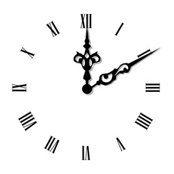 Vector illustration elegant wall clock with vintage hour hand isolated on white background. Clock on wall shows eight o'clock. Roman numeral clock