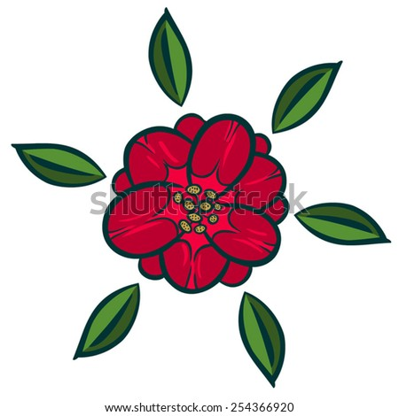 Vector illustration element. Red flower, tulip.