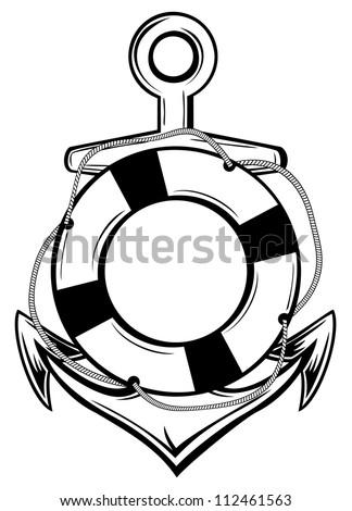 Vector illustration emblem anchor and ring-buoy sketch tattoo