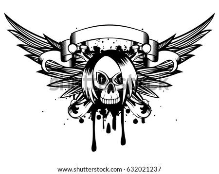 vector illustration emo skull