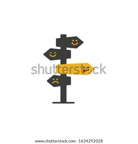 Vector illustration, emojy direction sign in different, destination, choice of directions, travel to different mood.