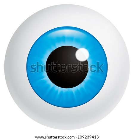 Vector illustration (EPS 10,includes transparency and mesh) Blue eyeball looking at spectator - stock vector