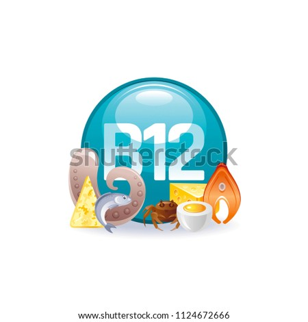 Vector illustration eps10 isolated on white background. Cyanocobalamin Vitamin B12 vitamin supplement icons. Food drink healthy diet symbol, 3d medical infographics poster. Flat benefits design