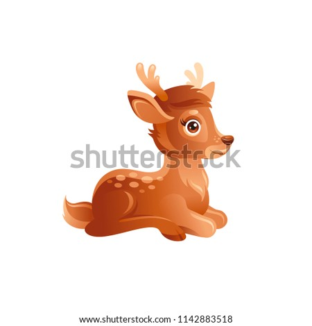 Vector illustration eps10 isolated on white background. Realistic autumn wildlife nature symbol, animal concept. 3d fall cheerful baby deer fawn. Cartoon cute forest character icon. Woodland flat sign