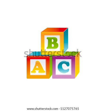 Vector illustration eps10 isolated on white background. Realistic baby toy symbol, fun play childhood concept 3d wooden cube blocks A B C. Cartoon cute childy toy, cute funny preschool icon, flat sign