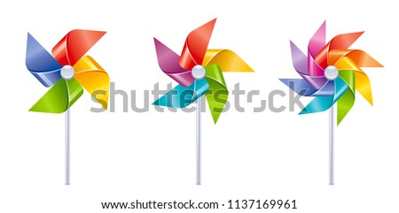 Vector illustration eps10 isolated on white background. Realistic vacation travel symbol, fun play toy concept, 3d rainbow color wind mill toy. Cartoon baby toy game, cute sea beach icon set flat sign