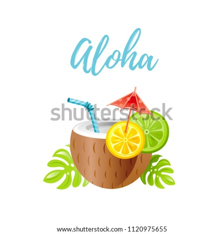 Vector illustration eps10 isolated white background. Realistic food/drink symbol, 3d alcohol coconut cocktail lime lemon straw. Cartoon cute Aloha hawaiian luau party ivitation, hawaii flat icon sign