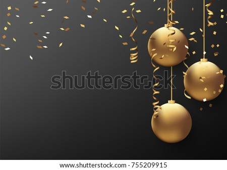Vector illustration eps10 of happy new year and merry christmas 2018 background with star,chrsitmas ball,golden ribbon and confetti.