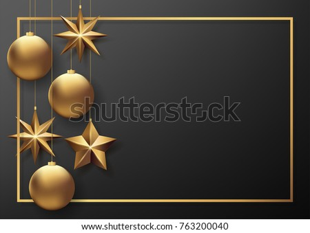 Vector illustration eps10 of happy new year and merry christmas 2018 background with star,chrsitmas ball,golden ribbon and confetti. #763200040