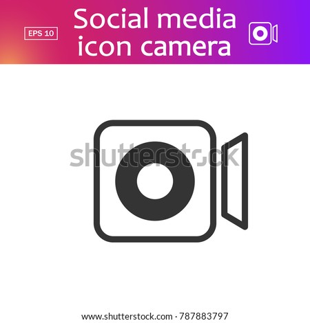 Vector illustration. EPS 10. Social media icon video camera. Video camera button, symbol, sign. Video camera pictogram. Camera line icon. Line icon instagram, app. Insta outline