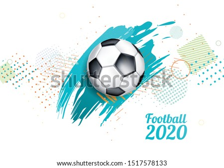 vector illustration. European football cup 2020. ball graphic design on a blue background with spots. stylish background gradient