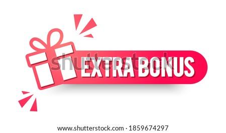 Vector Illustration Extra Bonus Label. Modern Red Web Banner.