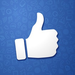 vector illustration facebook concept hand shows thumb up, social media network icon with detail pattern in the background