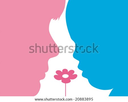 Vector illustration. Family peoples half-faces with flowers.